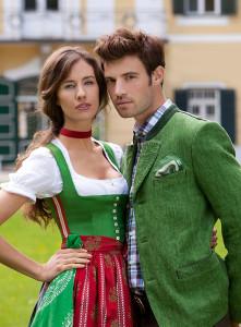 """Gössl """"Monarchie-Dirndl"""", grün mit roter Schürze"""