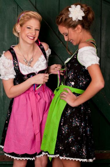 MarJo Fesche Madl Minidirndl schwarz mit Schürzen in pink und apfelgrün