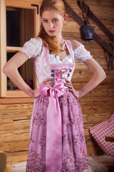 MarJo Gstandne Madl Dirndl rosa mit Glitzerschürze