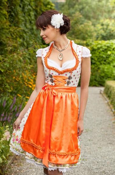 MarJo Gstandne Madl Dirndl weiß orange