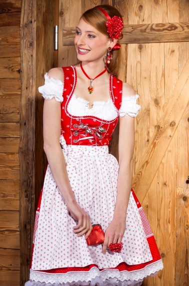 MarJo Gstandne Madl rot mit weißer Schürze und Petticoat