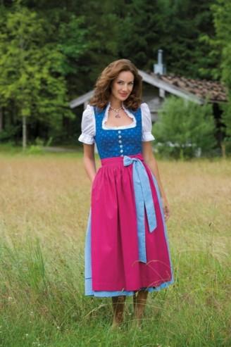 Trachten Outlet Original Salzburger - Baumwolldirndl hellblau mit rosa Schürze