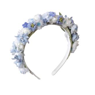 Haarreif mit Blumen in Hellblau und Weiß im LIMBERRY online Shop