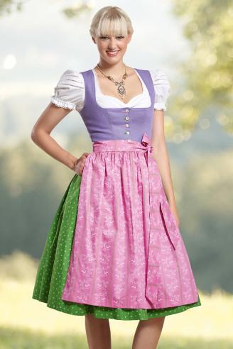 Hiebaum Dirndl kurz grün-lila-rosa