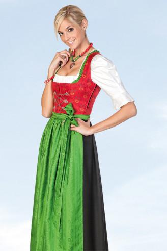 Langes Dirndl in rot-grün-schwarz