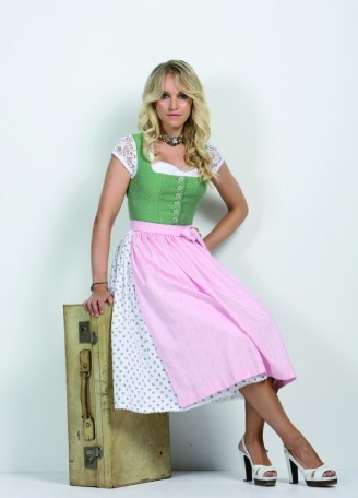 Anno Domini Dirndl in Weiß/rosa/lindgrün