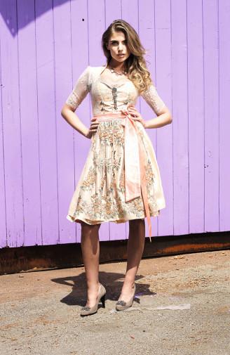 Couture Dirndl in beige-rosé