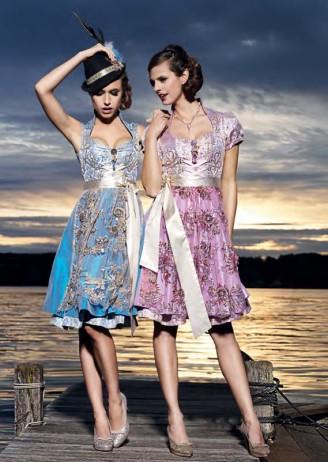 Couture Dirndl in blau und lila