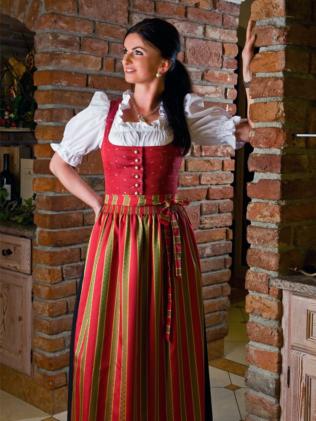 Gastro Dirndl Almsommer, rotes Baumwolldirndl